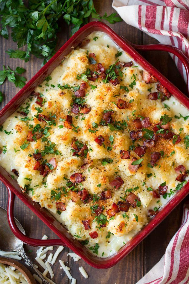 white cheddar cauliflower gratin