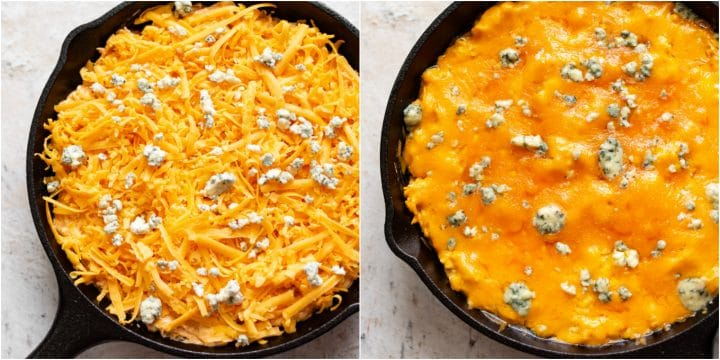 buffalo chicken cheese dip collage (before and after baking)