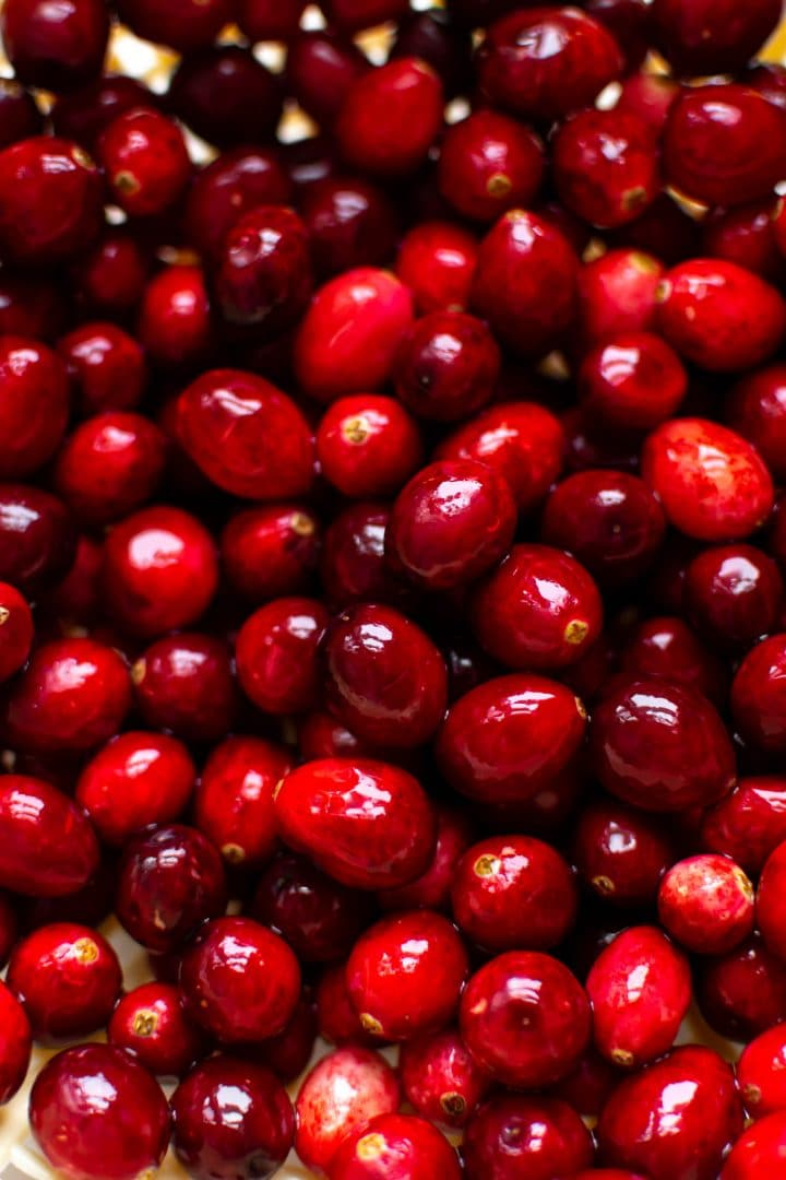 close-up of fresh cranberries for cranberry sauce