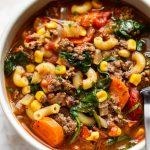 close-up of hamburger macaroni soup