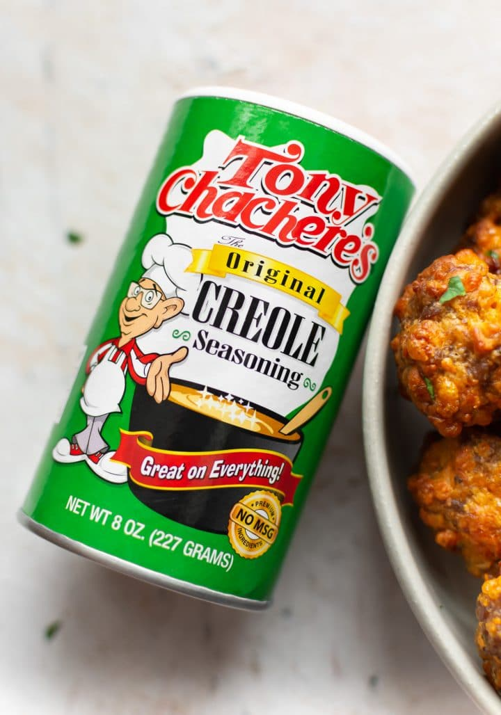 close-up of sausage balls and Tony's Famous Creole Seasoning