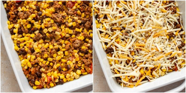 taco casserole prep collage