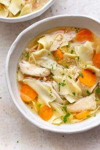 close-up of the BEST Crockpot chicken noodle soup