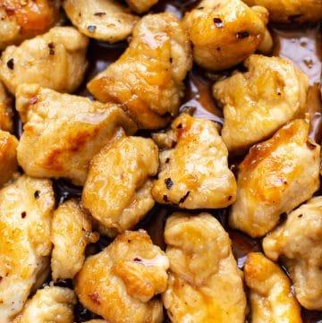 close-up of easy honey chicken recipe