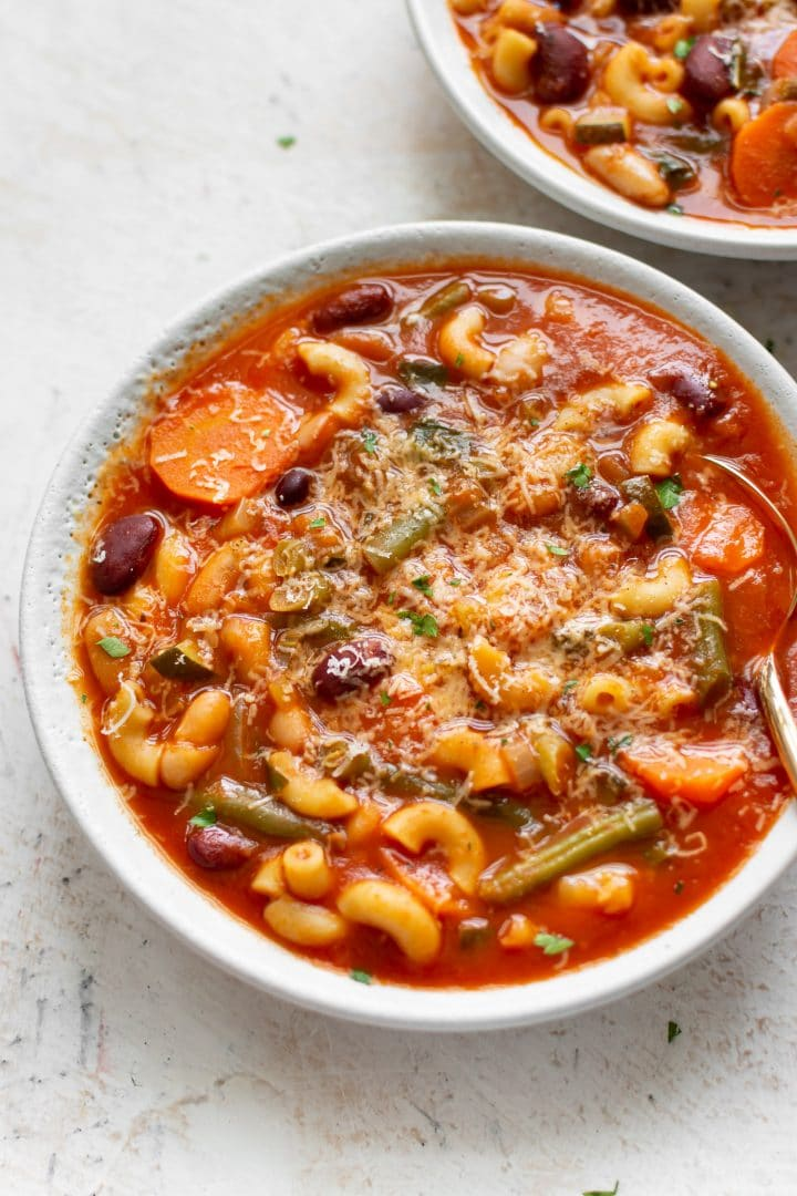 close-up of Instant Pot minestrone soup