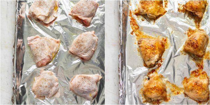 crispy baked chicken thighs collage (raw and cooked)