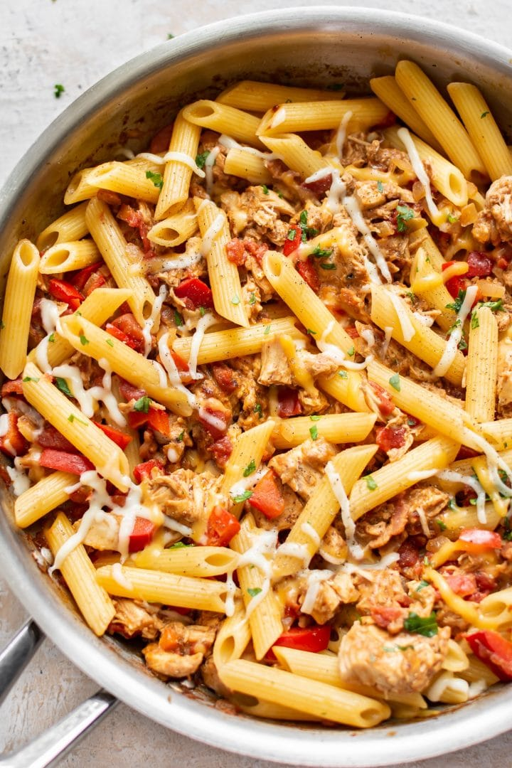 BBQ chicken pasta sauce over penne (in a skillet)