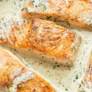 extreme close-up of creamy dill salmon