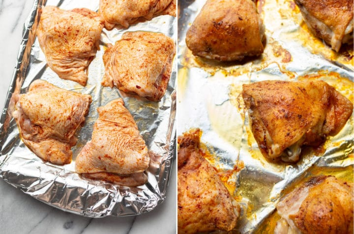 collage of baked chicken thighs (ready for oven and just out of oven on baking sheet)
