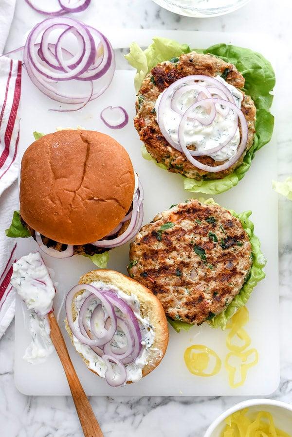 Greek ground turkey burgers