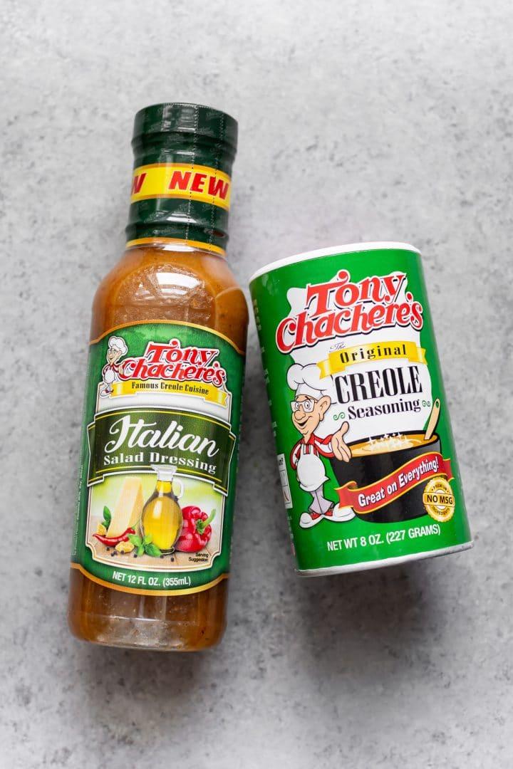 Tony Chachere's Italian Salad Dressing and Original Creole Seasoning