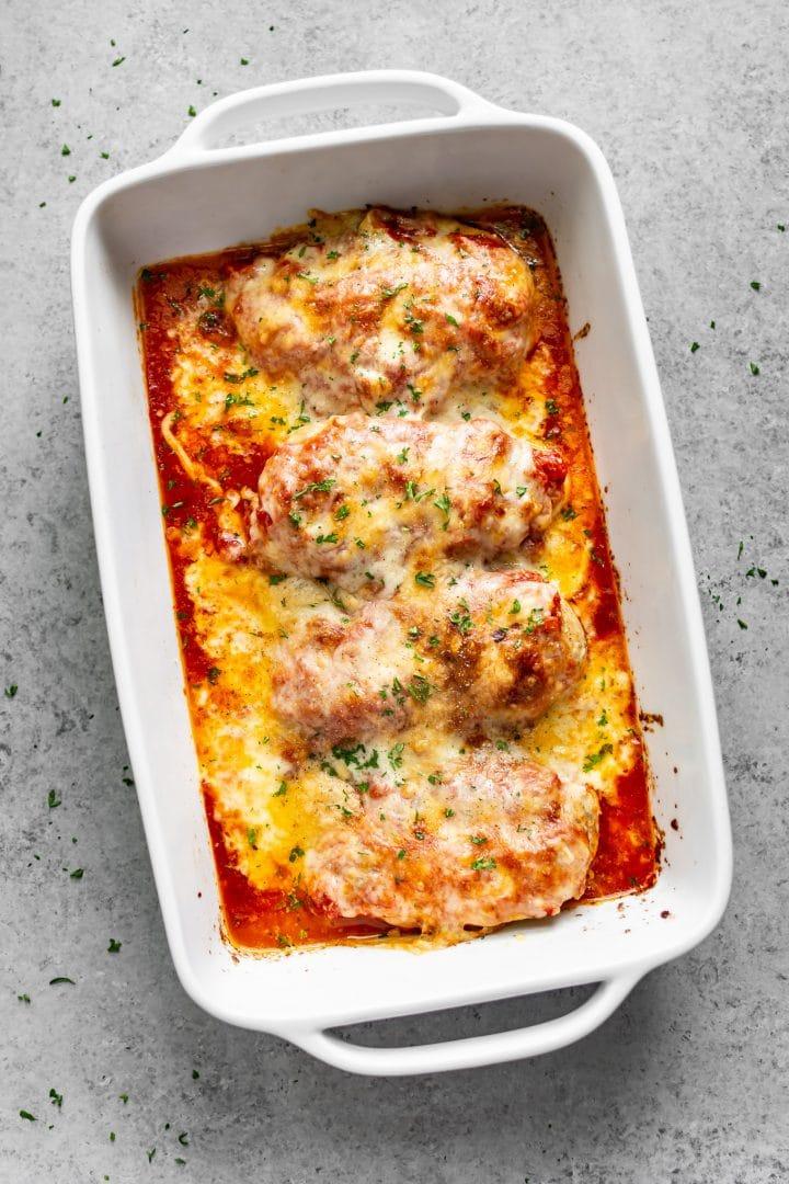 chicken mozzarella bake in a baking dish