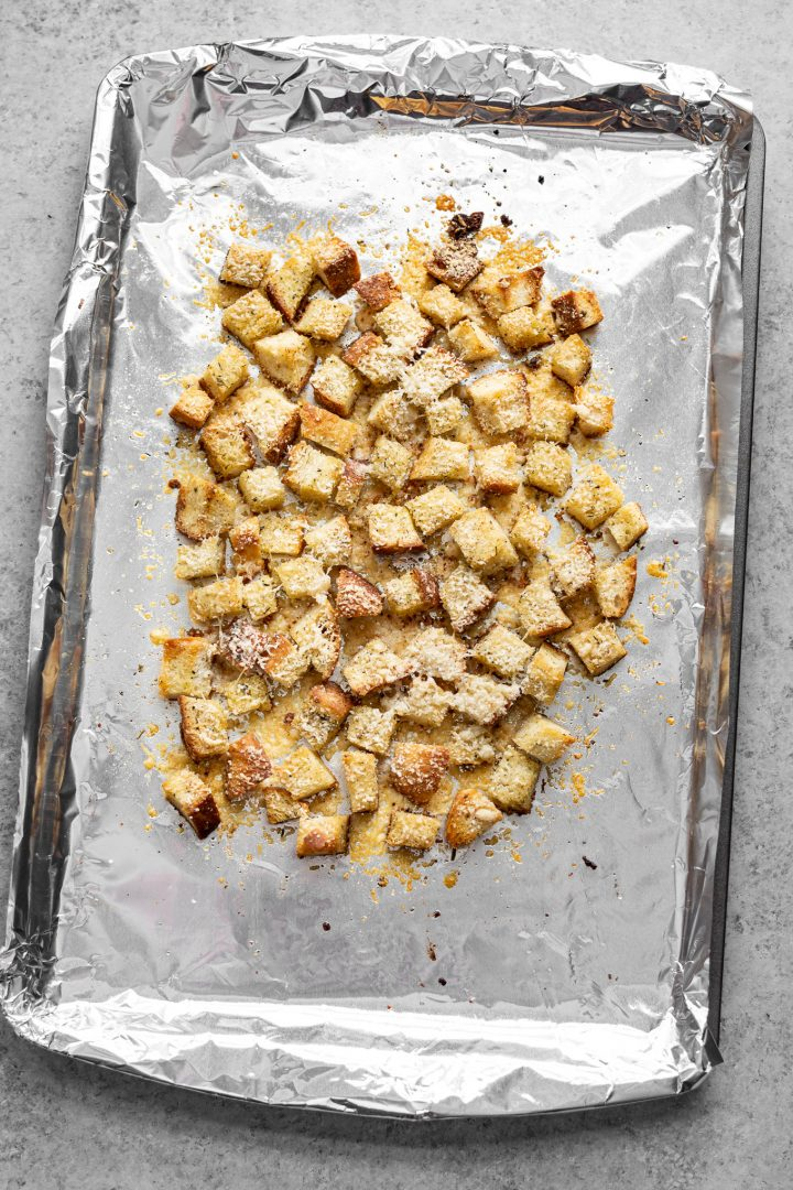 easy homemade croutons on a baking sheet