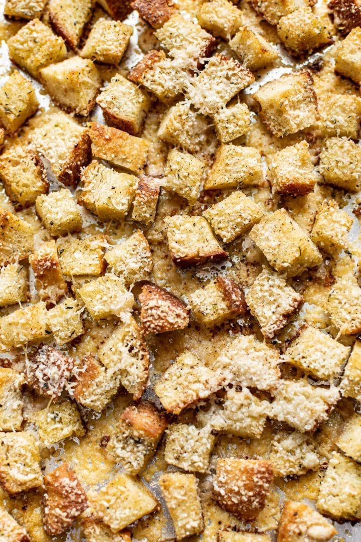 close-up of baked croutons
