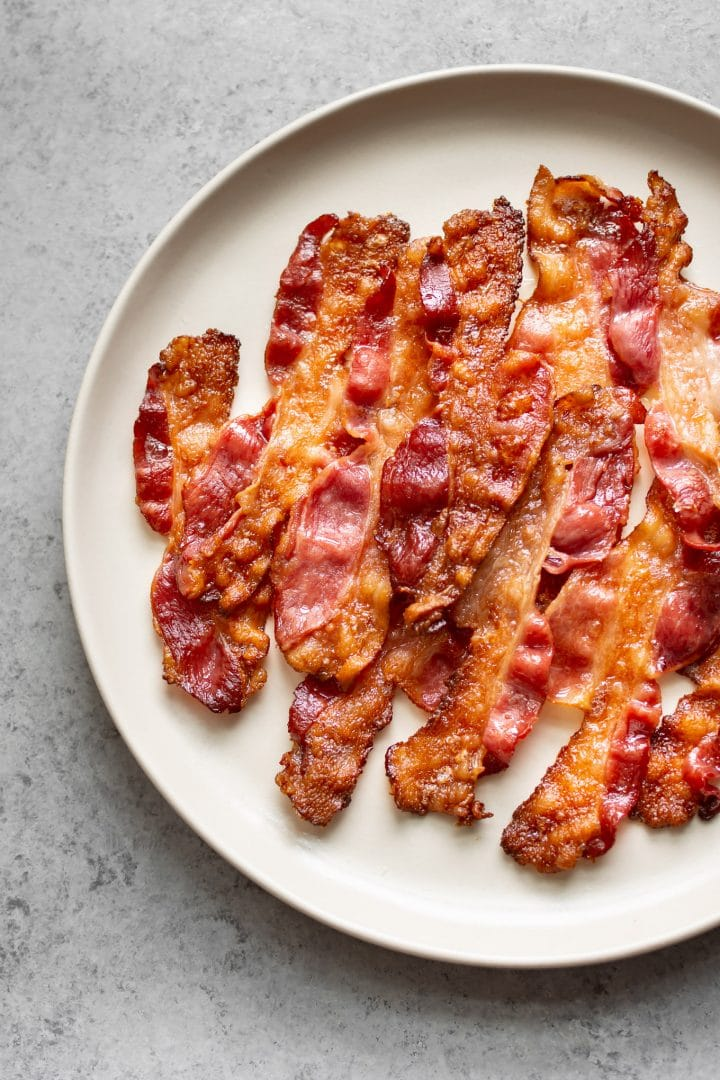 oven bacon on a plate