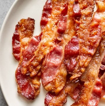 close-up of oven baked bacon