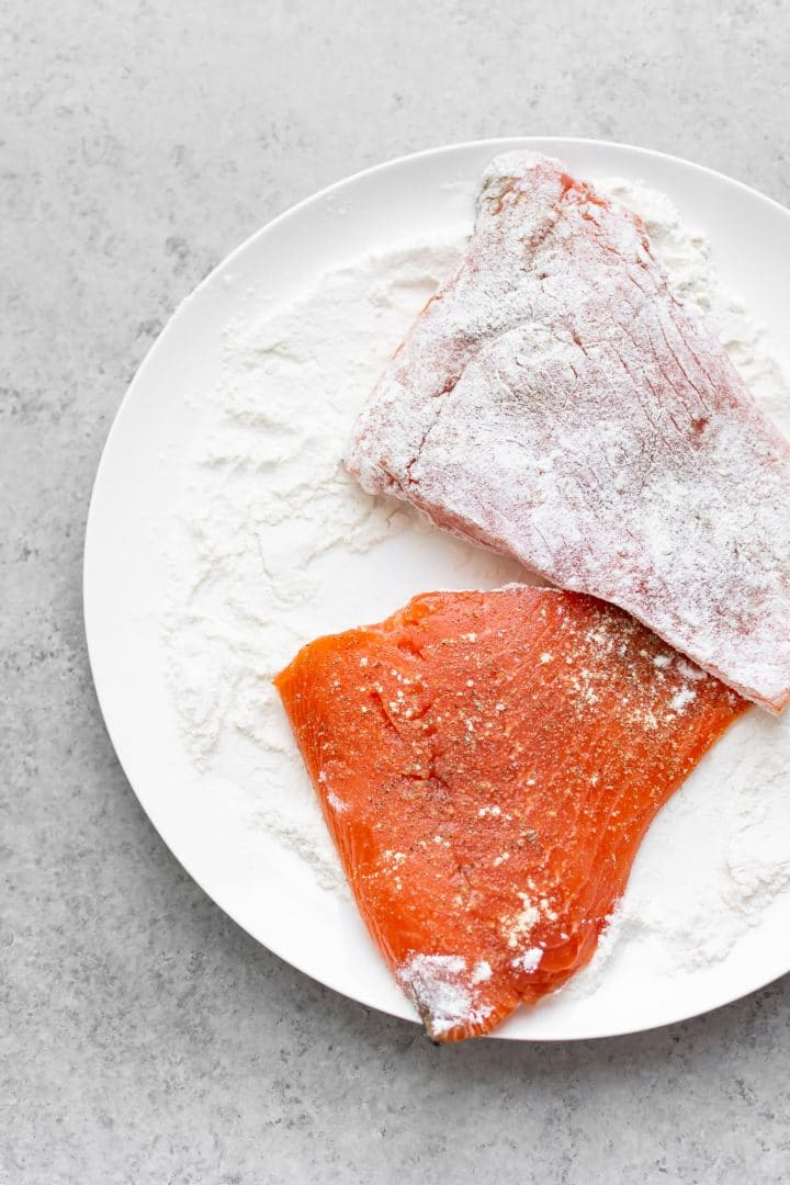 uncooked salmon coated in flour for salmon pesto pasta