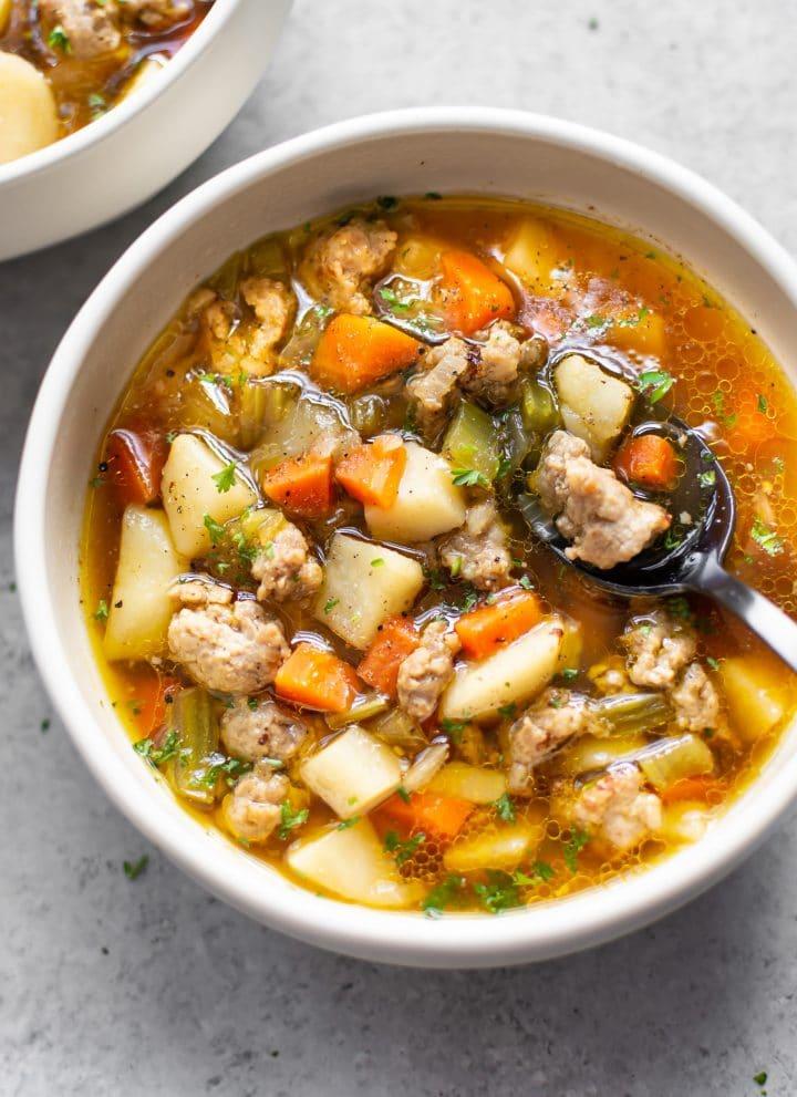 close-up of bratwurst soup