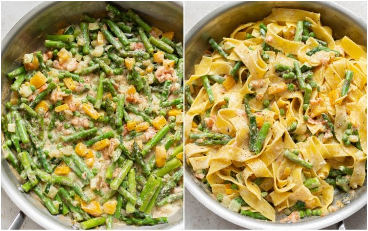 collage of primavera sauce in a skillet and then the primavera sauce tossed with the pasta in the skillet