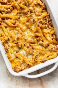 hamburger pasta casserole in a baking dish
