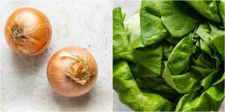 collage of onions and butter leaf lettuce