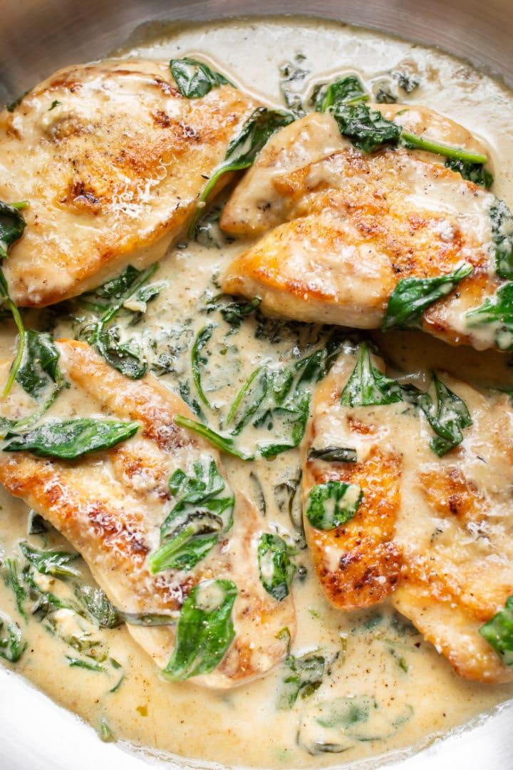 close-up of creamy chicken florentine