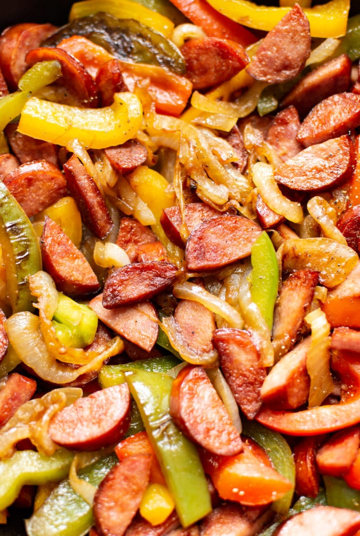 close-up of the best sausage and peppers