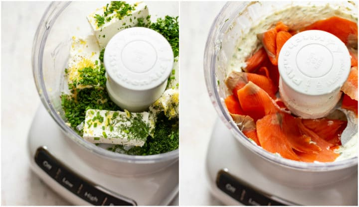 smoked salmon dip collage (ingredients in food processor)