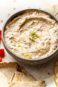 close-up of smoked salmon dip in a bowl
