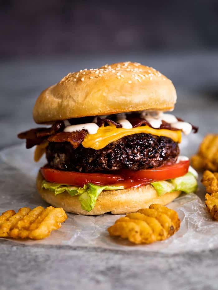 marinated ranch bacon cheeseburger
