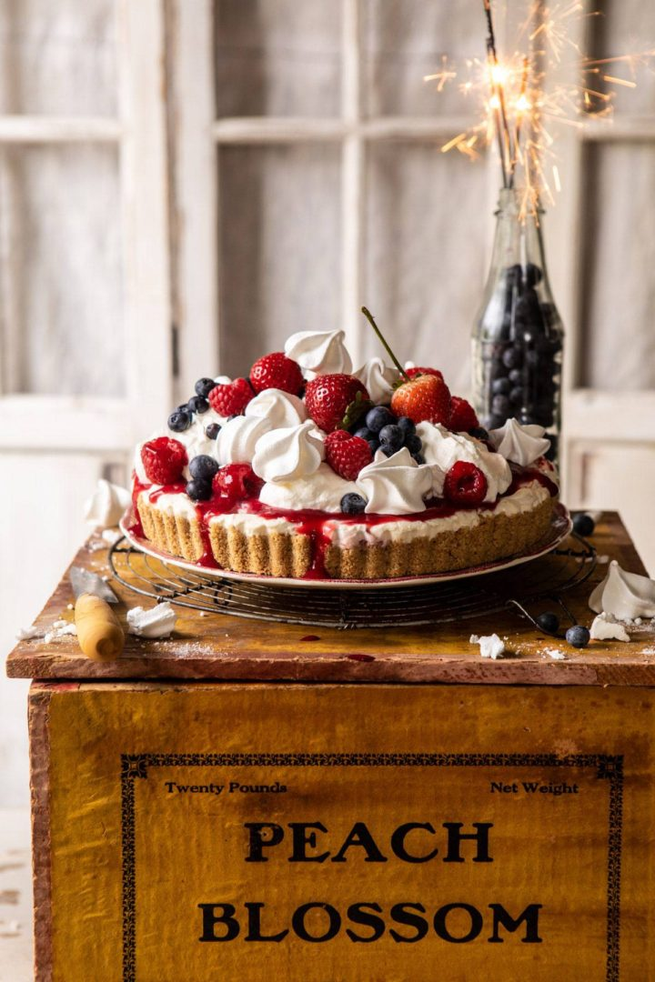 no bake eton mess cheesecake with red white and blue berries