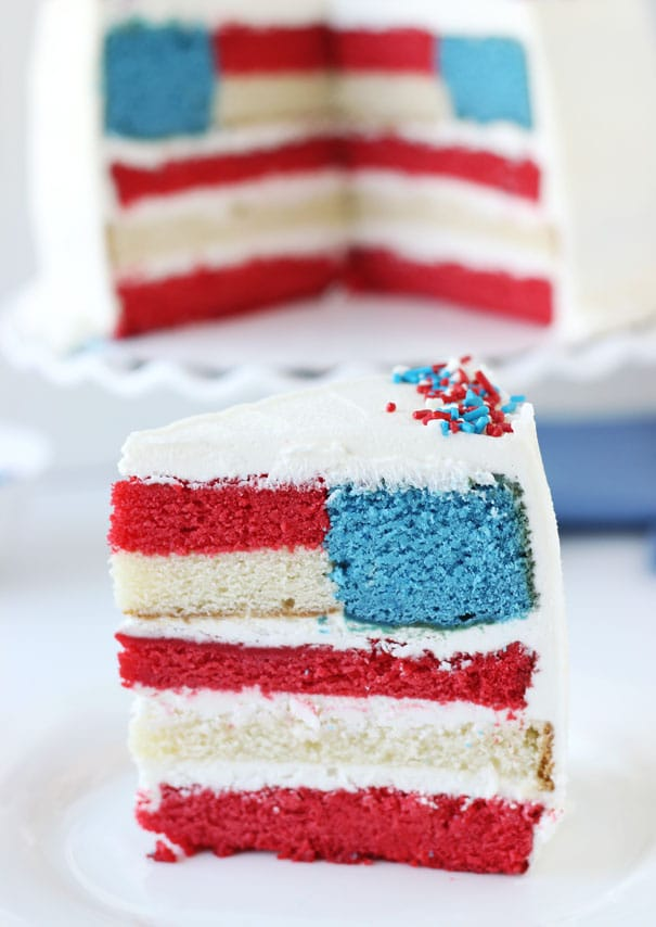 red white and blue layered flag cake piece