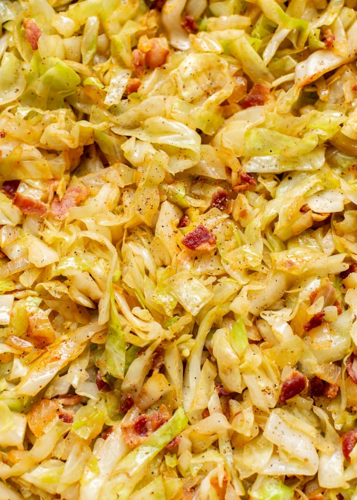 cabbage and bacon stir fry close-up