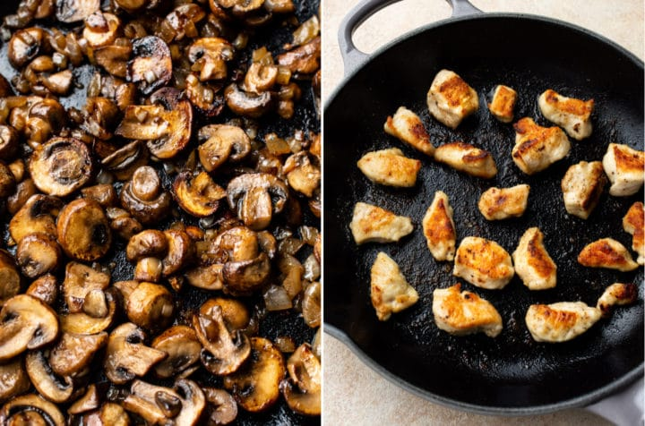 chicken stroganoff prep collage (sautéd mushrooms close-up and seared chicken pieces in a skillet)