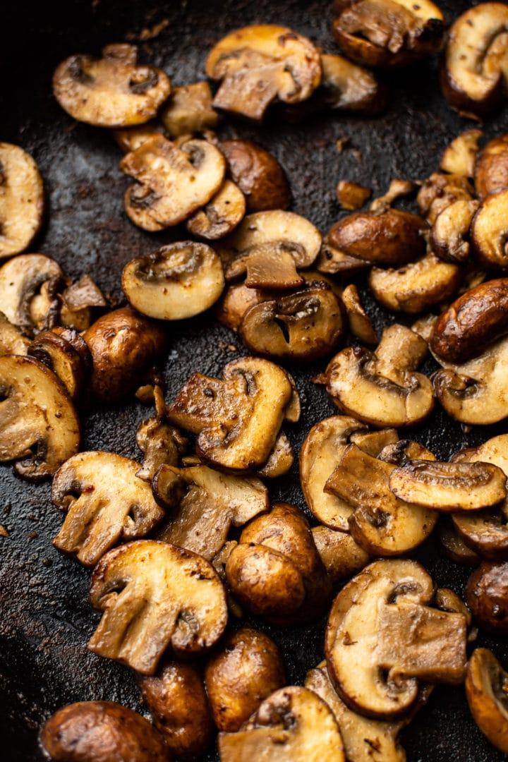 close-up of sautéed mushrooms