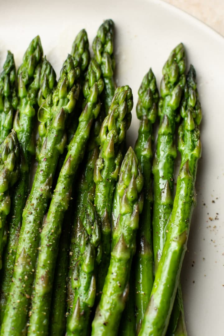 close-up of the easiest asparagus (butter poached)