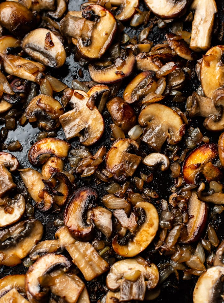 caramelized mushrooms and onions in a skillet