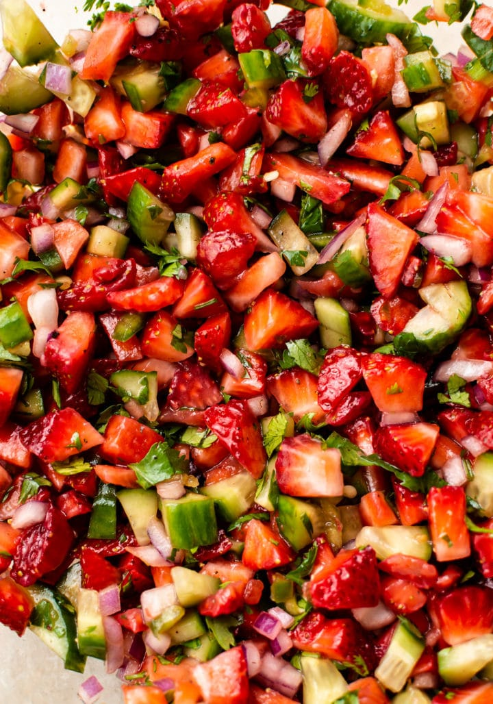 close-up of jalapeno strawberry salsa in a glass bowl