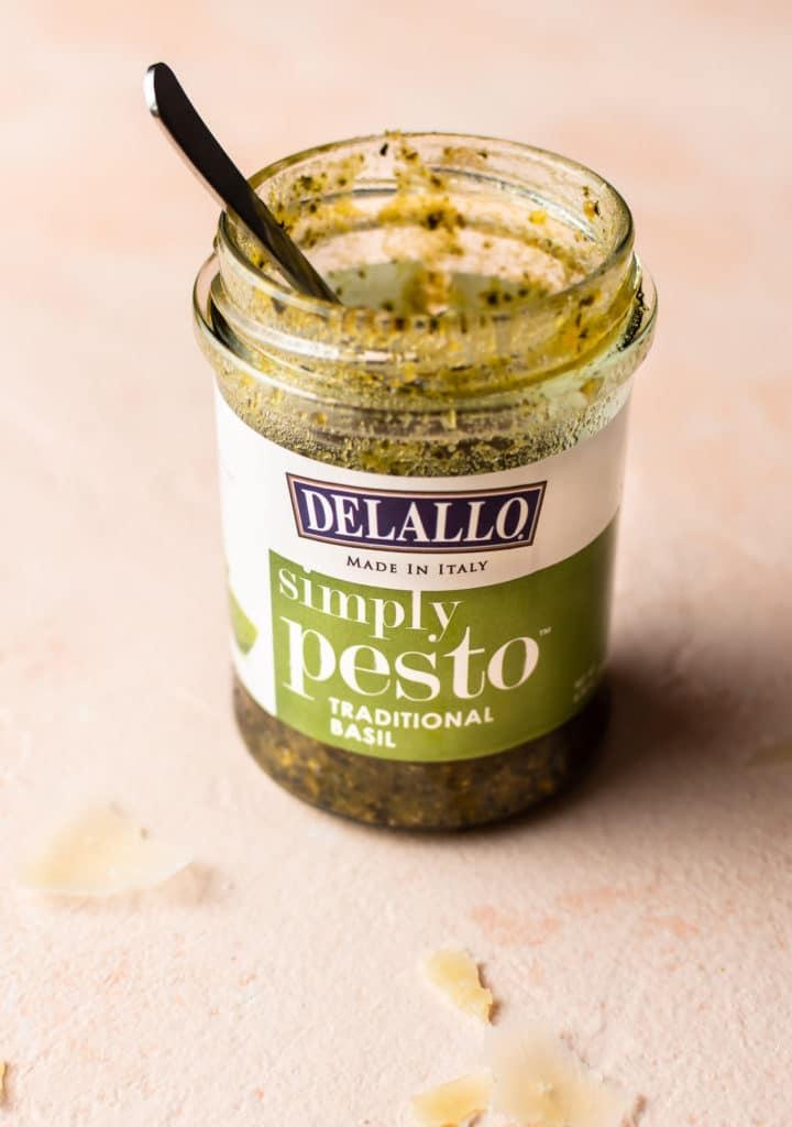 jar of Delallo's Simply Pesto
