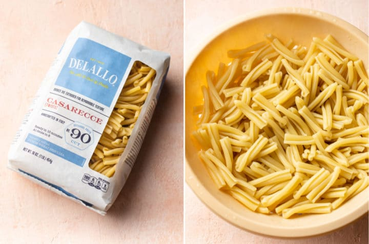 collage of Delallo Casarecce Pasta in its packaging and cooked in a colander
