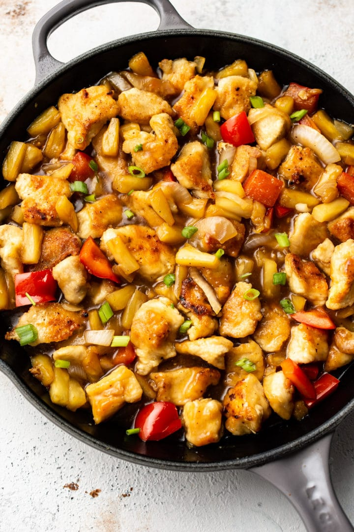 pineapple chicken in a skillet