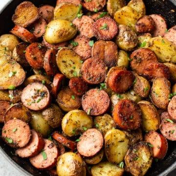 pesto sausage and potatoes skillet