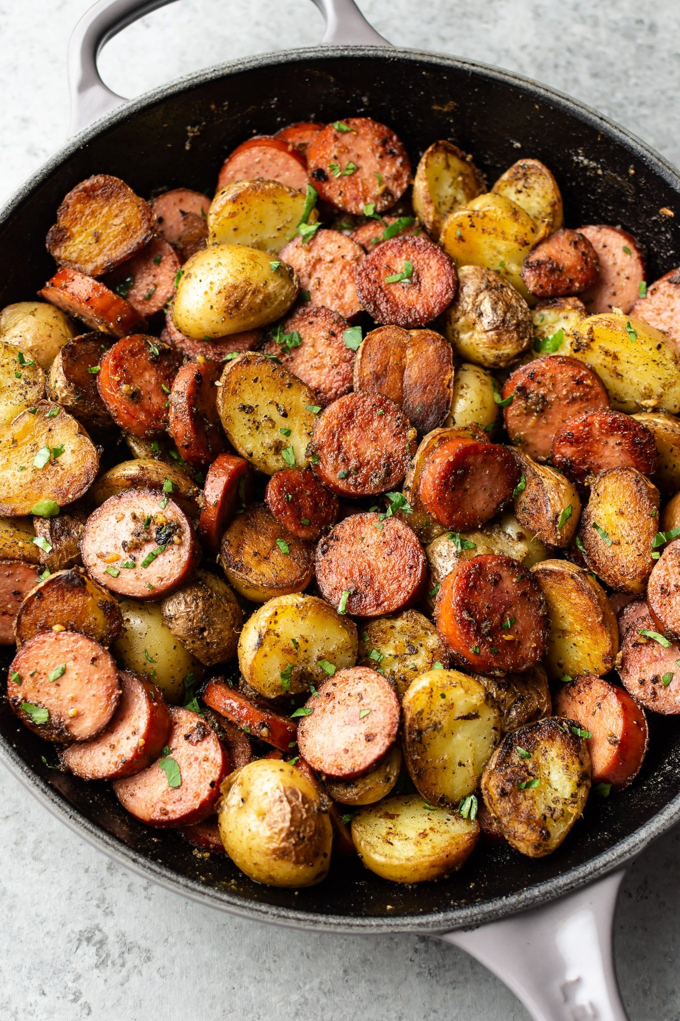 Pesto Pan Fried Sausage And Potatoes Salt Lavender