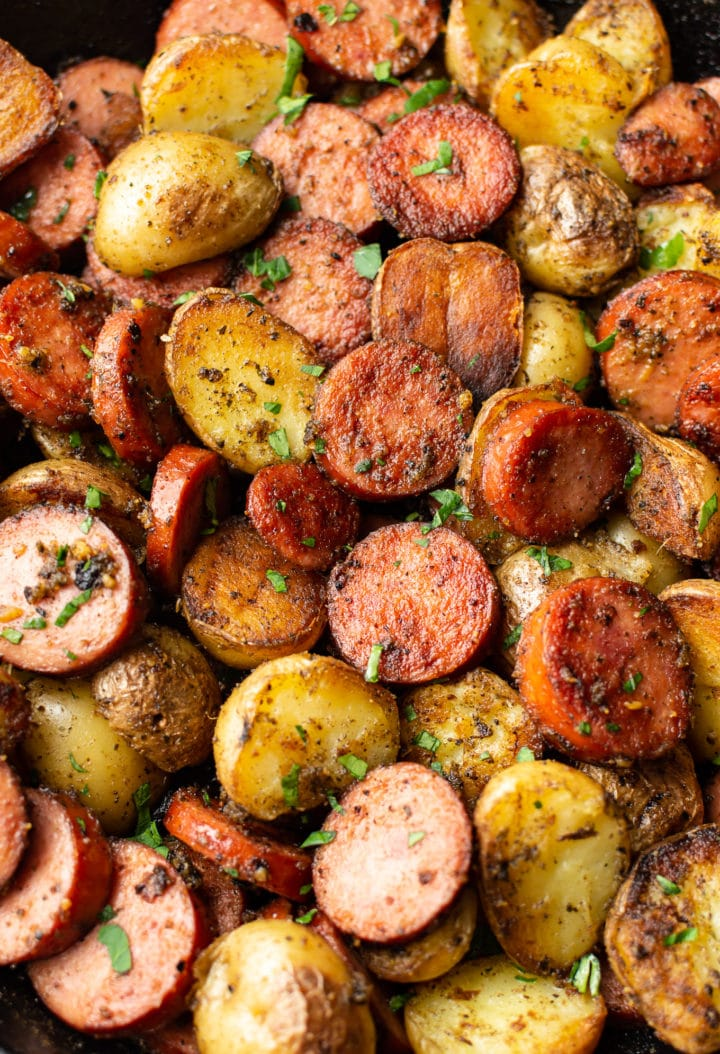 close-up of sausage and potatoes