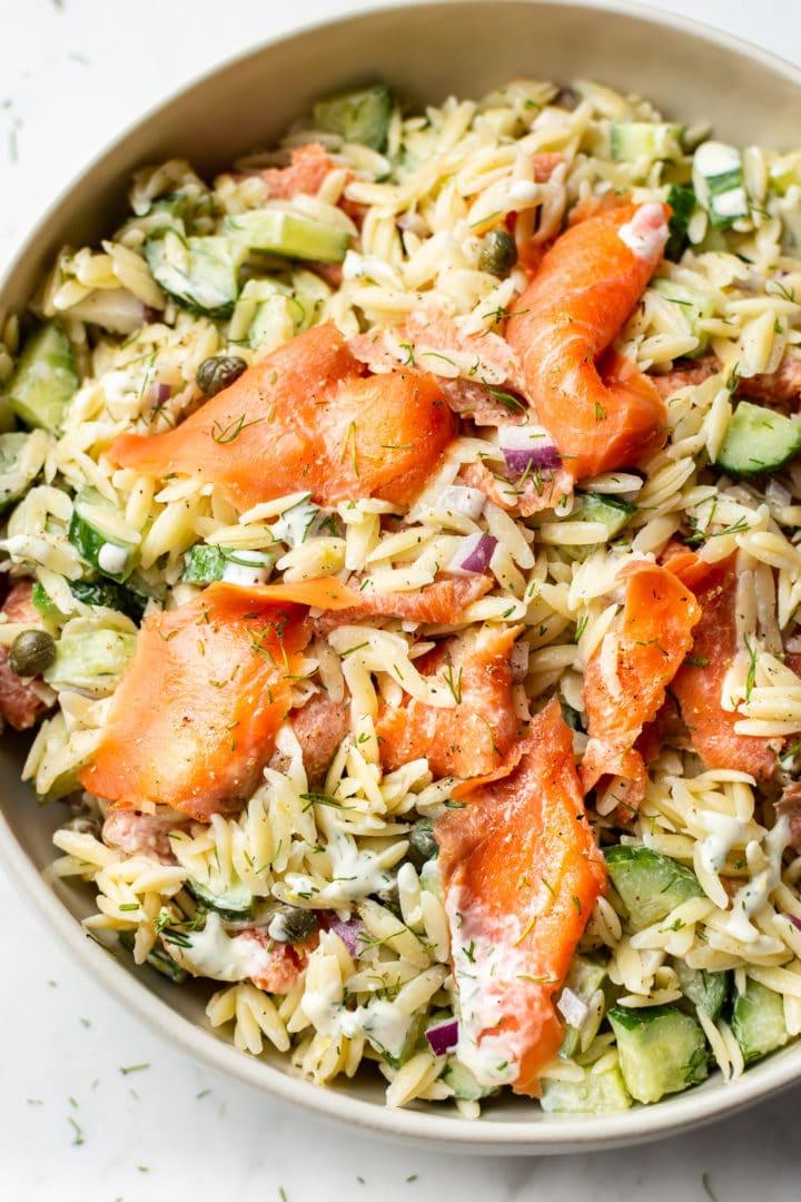 close-up of smoked salmon pasta salad (orzo)