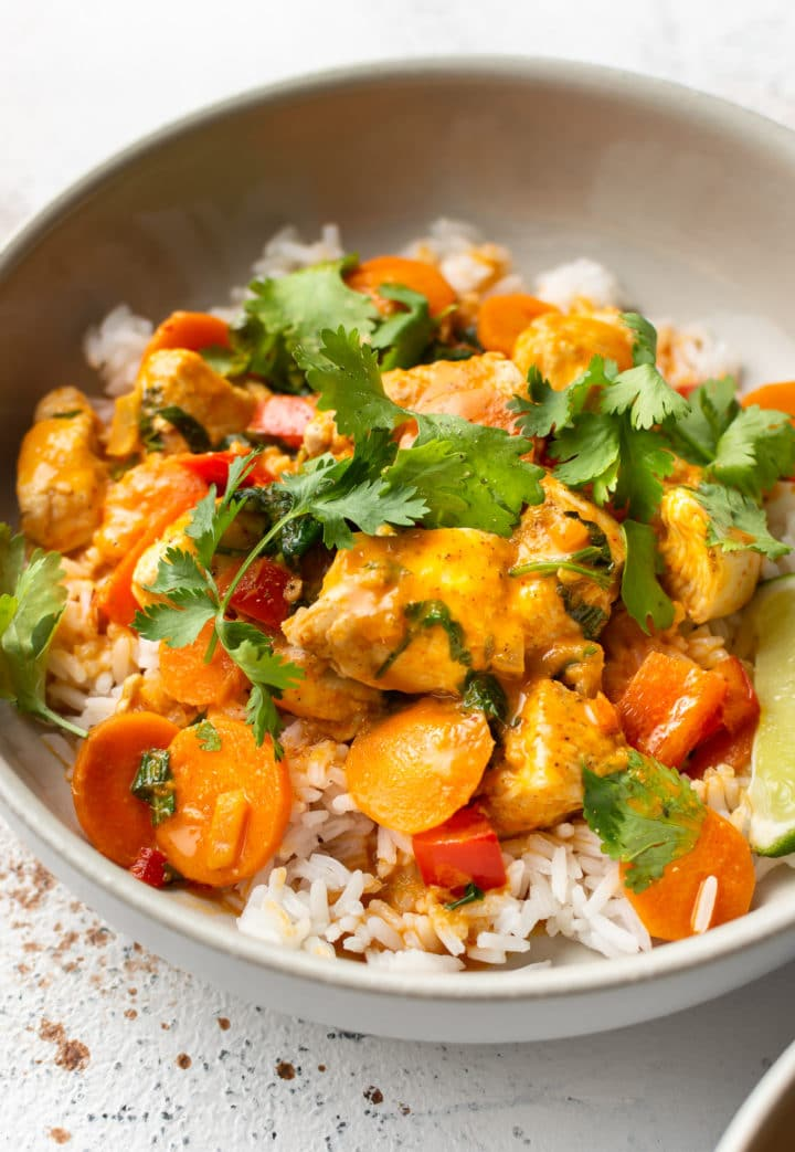 Thai coconut curry chicken with rice close-up