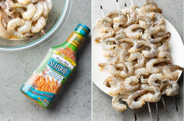 Cajun orzo salad collage (shrimp with Tony Chachere's marinade and raw shrimp on skewers)