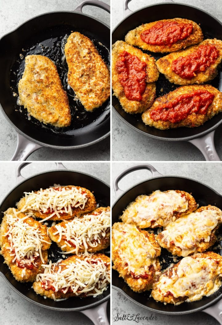 chicken parmesan collage (showing process photos of frying, topping the chicken with sauce and cheese, and after it's been baked)