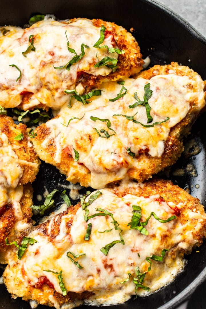 close-up of chicken parmesan in a skillet