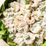 The best shrimp salad served over a bed of butter leaf lettuce (in a white salad bowl)
